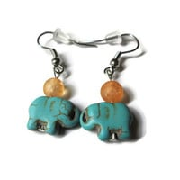 Turquoise Elephant Earrings, Howlite Magnesite and Orange Glass Beads, Nickel Free French Ear Wires