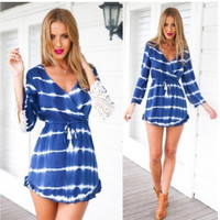 Women's Trending Popular Fashion 2016 Summer Lace Beach Long Sleeve Casual Party Playsuit Bodycon Boho Dress  _ 3734