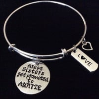 Great Sisters get Promoted to Auntie Expandable Charm Bracelet Adjustable Bangle Aunt Sister Family Gift