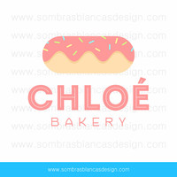 OOAK Premade Logo Design - Pink Donut - Perfect for a handmade cakes brand or a sweets shop