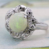 Vintage Opal Engagement Ring | Halo Cocktail Ring | Mid Century Ring | 1950s Gemstone Ring | 14k White Gold Ring |October Birthstone |Size 5