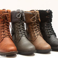 Zipper Round Toe Low Heel Military Lace Up Mid Calf Boot Shoes Size 5.5 - 10 NEW