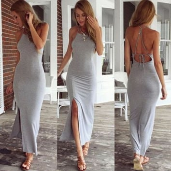 New Fashion Sexy Women Summer Cotton Boho Long Maxi Party Dress Backless High Slit Gray Beach Dresses = 4756923524