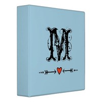 Sweethearts and Arrows Blue Monogram 3 Ring Binder