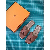 Hermes Oran Sandals With Leather Sole Slip-on Brown