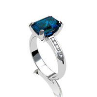 London blue topaz, white gold, engagement ring, solitaire, blue, thin, custom, blue engagement, huge gemstone