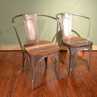 Solid Reclaimed wood and metal Industrial style dining Chairs / Dining chairs / Desk chairs / Multiple purpose chairs