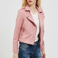 2018 New Preppy Style Women Faux Soft Suede Leather Jackets Lady Slim fit Cute Matte Coat Outerwear Pink Red Gray Coffee