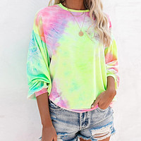 New trendy tie-dye loose pullover round neck long sleeve sweater women yellow print