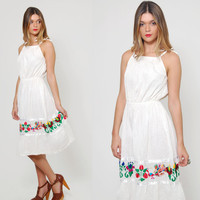 Vintage 70s MEXICAN Sun Dress EMBROIDERED White Pintuck Pleated Mini Dress