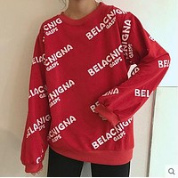 Balenciaga Women Fashion Print Top Sweater Pullover