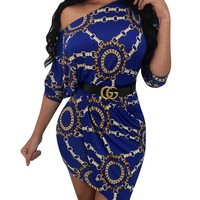 Chains Print Irregular Party Dress with Slash Shoulder