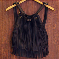 Shake It Out Fringe Purse - Black