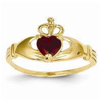 14k Yellow Gold CZ Birthstone Claddagh Heart Ring