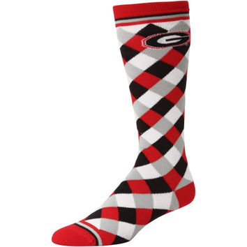 Georgia Bulldogs Women's 538 Diamond Stripe Socks – Red