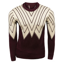 Color Block Striped Panel Knit Sweater