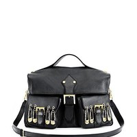 Versace - LARGE LEATHER BAG WITH SAFETY PINS