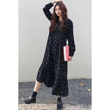 Plus Size European Style Brand Cothing Loose Long Sleeve Women Dresses Print Dot Linen  Robe