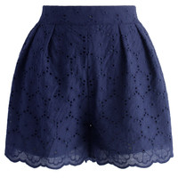 Petite Cutout Flowers Shorts in Navy Blue S/M