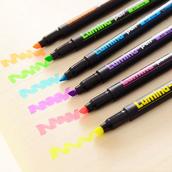 6 pcs/lot Lumina Pens Highlighter for Paper Copy Fax DIY Drawing Marker Pen Art Stationery Office Material School Supplies