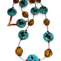 Glass Beaded Turquoise Butterfly Necklace with Red, Gold and White Beads