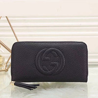 Gucci Women Fashion Leather Zipper Wallet Purse