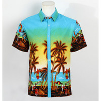 Hot Men Aloha Shirt Hawaiian Cruise Tropical Luau Beach Hawaiian Party Palm Sky blue L normal version