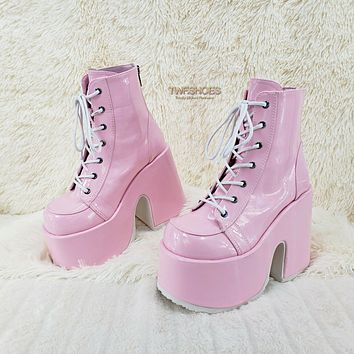 Demonia 203 Camel Stacked Pink Patent Platform Goth Punk Ankle Boots 6-12 NY