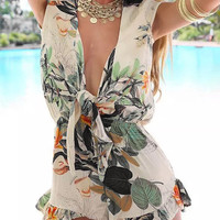 Floral Rayon V Neck Sleeveless Romper