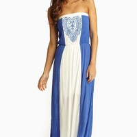Royal Ivory Colorblock Embroidered Linen Strapless Maxi Dress