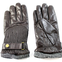Polo Ralph Lauren Men's Quilted Buckle Dark Brown Wool Lined Leather Gloves