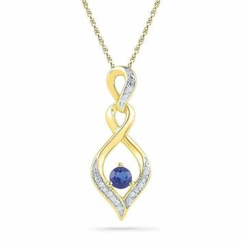 10kt Yellow Gold Women's Round Lab-Created Blue Sapphire Solitaire Diamond Pendant .02 Cttw - FREE Shipping (US/CAN)