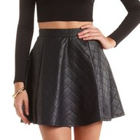 Quilted Faux Leather Skater Skirt by Charlotte Russe - Black
