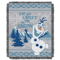 """The Northwest Company Disney's Frozen """"Snow Expert"""" Triple Woven Throw Blanket, 48 by 60-Inch"""