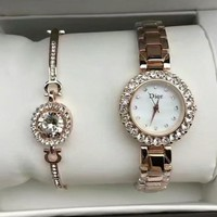 Dior Women Fashion Trend Quartz Movement Diamonds Wristwatch Watch Set Two-Piece