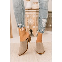 Leaving Now Pointed Toe Heeled Mules (Taupe)