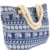 Elephant Print Beach Tote Accessory Bag