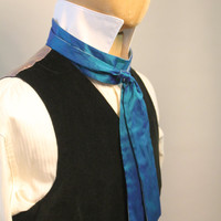 Edwardian stock and ascot in blue silk
