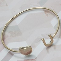 Gold Layered Women Heart Individual Bangle, One size fits all by Folks Jewelry