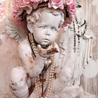 Shabby cherub angel statue painted distressed patina with embellished golden pink roses crown cottage chic home decor anita spero design
