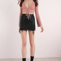 Cathy Lace Up Faux Leather Skirt