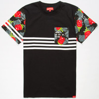 Ayc Nyjah White Lines Mens Pocket Tee Black  In Sizes