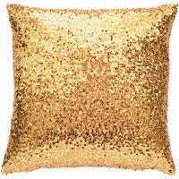 "Gold Sequin Lumbar Pillow Cover, 19""x19"" - Contemporary - Decorative Pillows - by TwentyEight12"