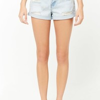 Distressed High-Rise Denim Shorts