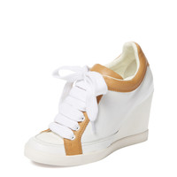 Leather High Wedge Sneaker