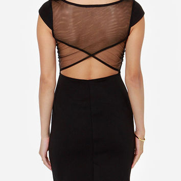 Short Sleeve Cut-Out Mesh Backless Bodycon Mini Dress