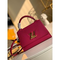LV Louis Vuitton WOMEN'S LEATHER Twist One Handle Large SIZE SHOULDER BAG ROSE RED