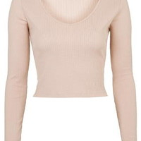 Ribbed V-Neck Top - Tops - Clothing