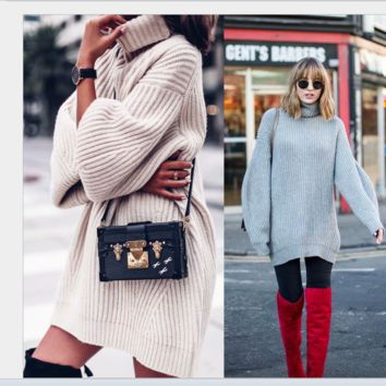 Hot style is a big seller of high-collared, loose and long knitted skirts