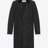 Saint Laurent CLASSIC CHESTERFIELD COAT IN Anthracite Wool | ysl.com